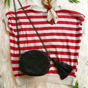 Vintage Red and White Striped Sailor Box Shirt